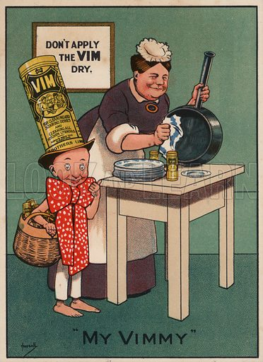 Woman cleaning a frying pan: advertisement for Vim