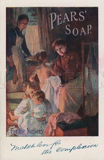 Nursery scene: advertisement for Pears' soap.