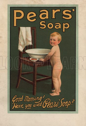Little boy standing beside a washing bowl: advertisement for Pears' soap