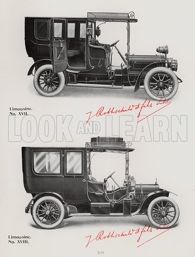 Illustration for the Illustrated Book of Designs of Motor Bodies and Accessories published by Messrs J Rothschild et Fils Ltd, early 20th century.