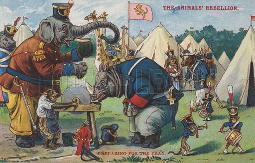 The Animals' Rebellion. Postcard, early 20th century.