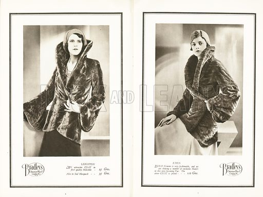 Pages from The Fashion In Furs for the Winter Season 1930-31, published by Bradleys Chepstow Place Ltd, London W2.