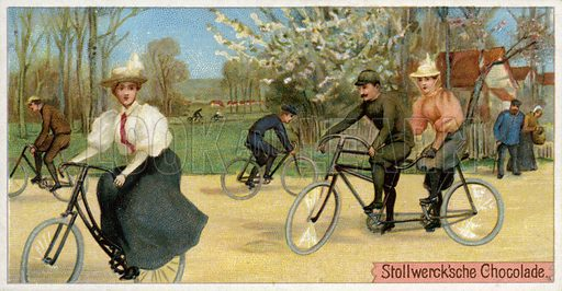 Men and women on bicycles.