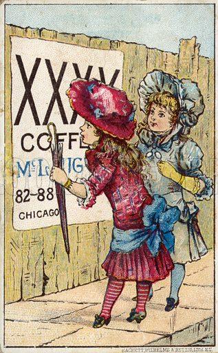 Children reading coffee advertisement.