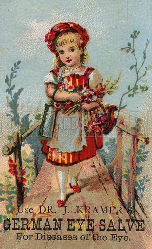 Girl on bridge, advertising German Eye Salve.