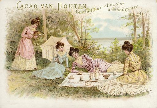 Finely dressed women having a picnic.
