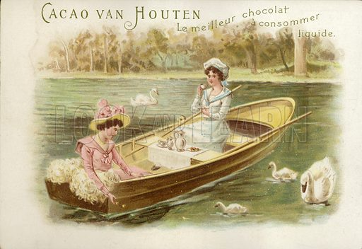 Women in rowing boat, drinking chocolate.
