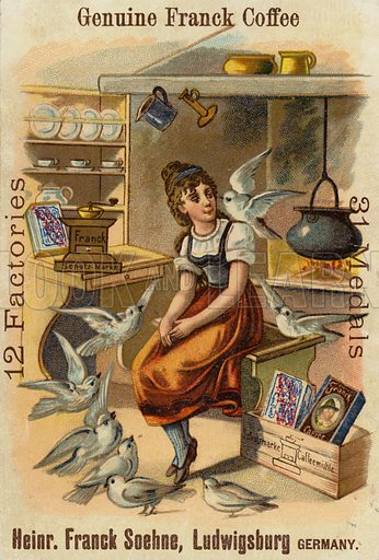 Girl with doves, advertising Genuine Franck Coffee.