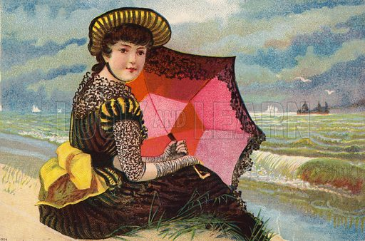 Dutch girl, with parasol, by the sea.