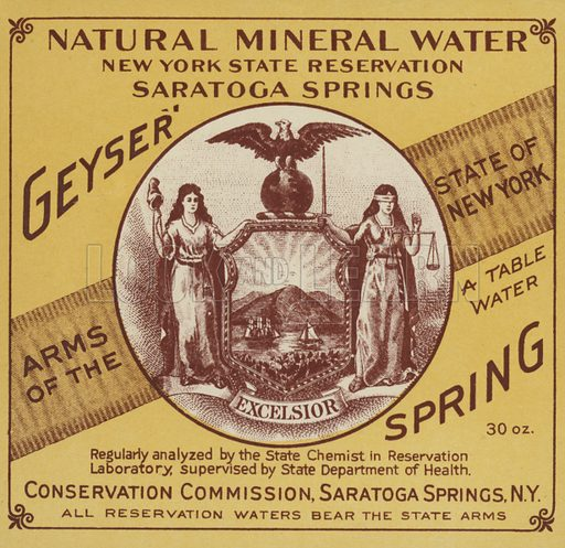Natural Mineral Water, New York State Reservation, Saratoga Springs.