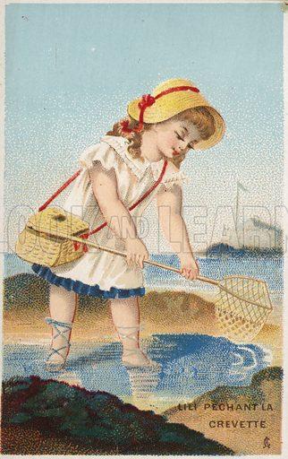 Girl fishing for shrimps.
