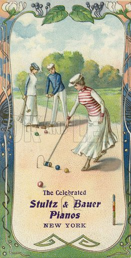 Men and women playing croquet.