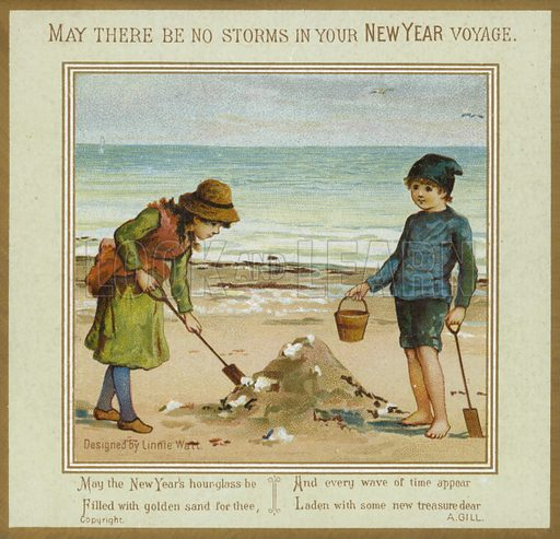 Children Playing on Beach – New Year Card.