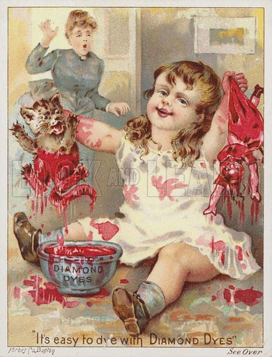 Girl Dipping Cat and Doll into Red Dye