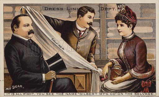 Couple Purchasing Dress Lining Fabric from Department Store.