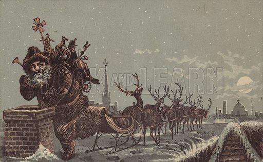 Santa And Reindeers Delivering Presents
