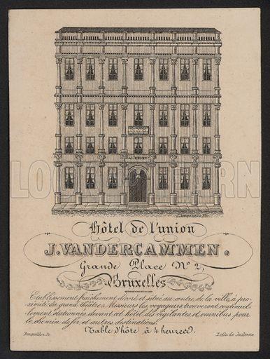 Hotel De L'Union, J Vandercammen, Grand Place, Bruxelles