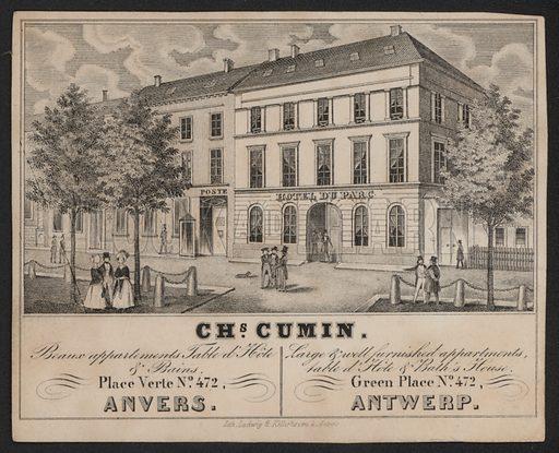 Charles Cumin, Anvers, Antwerp, Hotel Du Parc.