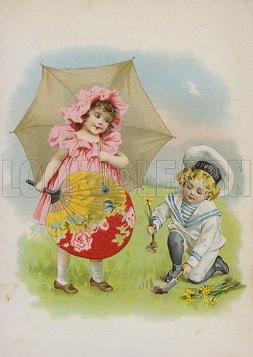 Girl with chinese fan and parasol, with boy in sailor suit planting daffodils