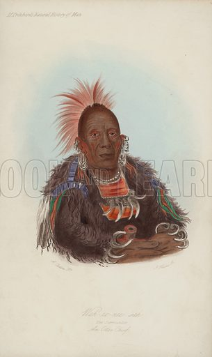 Wah-ro-nee sah, The Surrounder, An Ottoe Chief.  Illustration for James C Prichard's The Natural History of Man (Hippolyte Balliers, 1844). Engraved by J Harris.