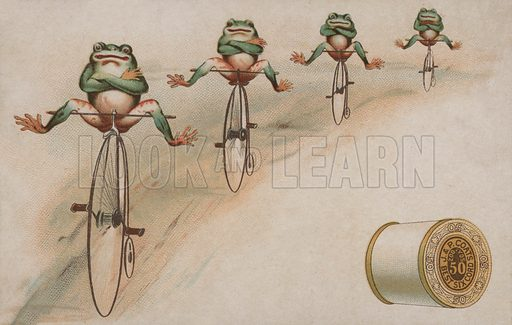 Frogs performing tricks riding penny farthings, advertisement for J & P Coats cotton