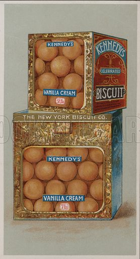 Advertisement for Kennedy's Vanilla Cream biscuits. Illustration for trade card, late 19th or early 20th century.