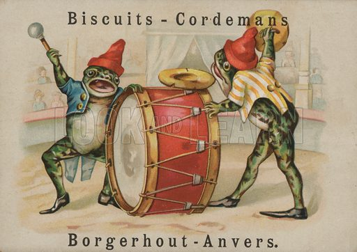 Two frogs banging a drum
