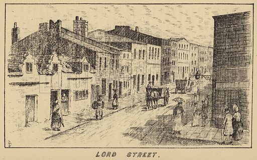 Lord Street. Illustration for Old Liverpool written in manuscript by Rev R Postance with illustrations by John Sanders (1889, reprinted 1928).