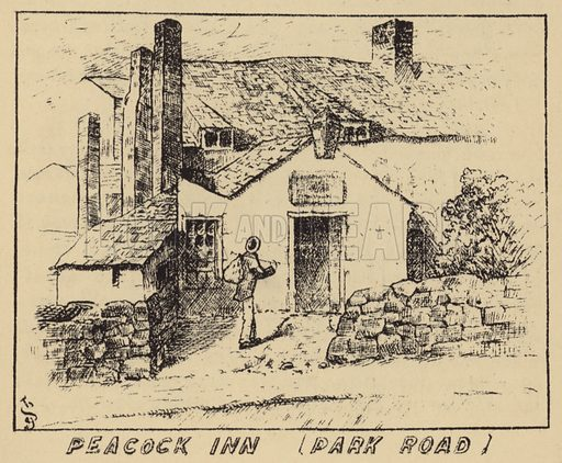Peacock Inn, Park Road. Illustration for Old Liverpool written in manuscript by Rev R Postance with illustrations by John Sanders (1889, reprinted 1928).