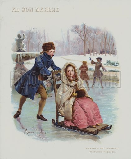 Pushing a sled on ice, costumes of the French Regency period