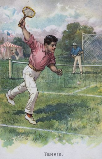 Tennis.  One of a set of trade cards on sports, issued by Crawford Shoe, late 19th or early 20th century.