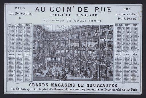 Calendar advertising Lariviere-Renouard's shop Au Coin de Rue, Paris, France.