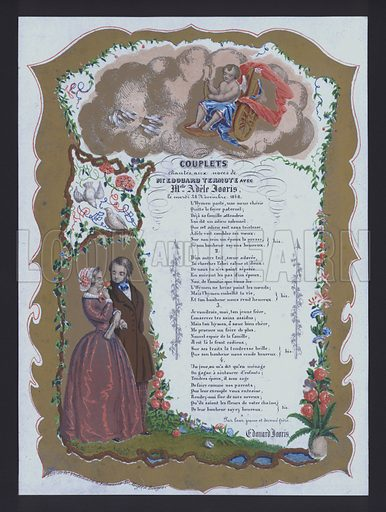 Couplets sung at the wedding of Edouard Termote and Adele Jooris, France, 18 November 1848.