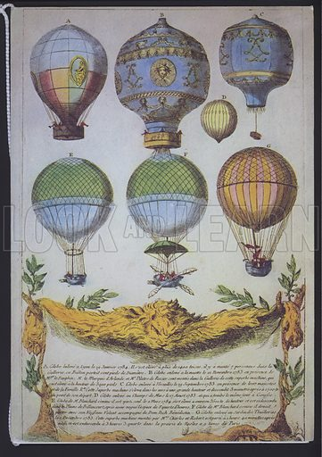 Early French balloon ascents, 1780s.