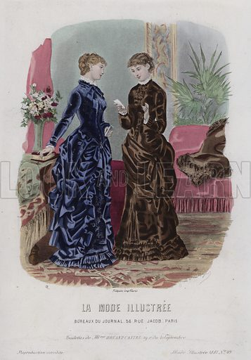 French women's fashions, 1881. Illustration from La Mode Illustre, 1881.