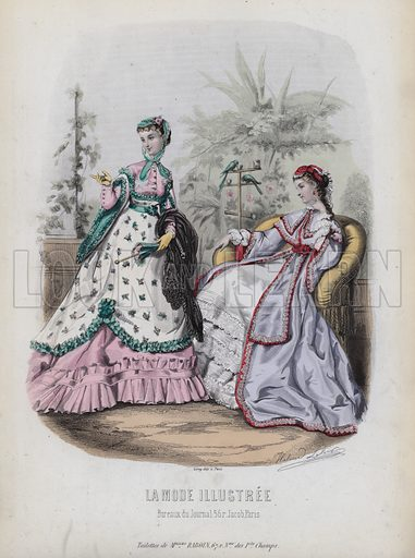 French women's fashions, 19th Century. Illustration from La Mode Illustree.