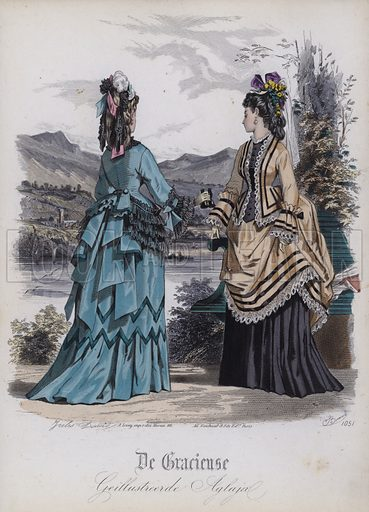 Dutch women's fashions, 19th Century. Illustration from De Gracieuse.