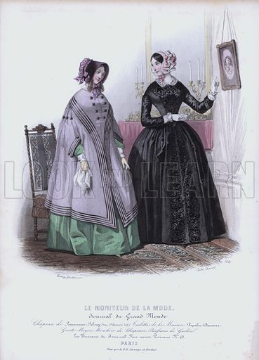 Women's fashions, 19th Century. Illustration from Le Moniteur de la Mode.