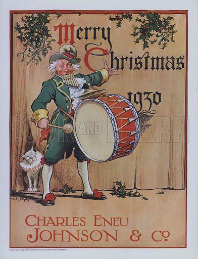 One-man band, Christmas advertisement for Charles Eneu Johnson & Co, 1930.