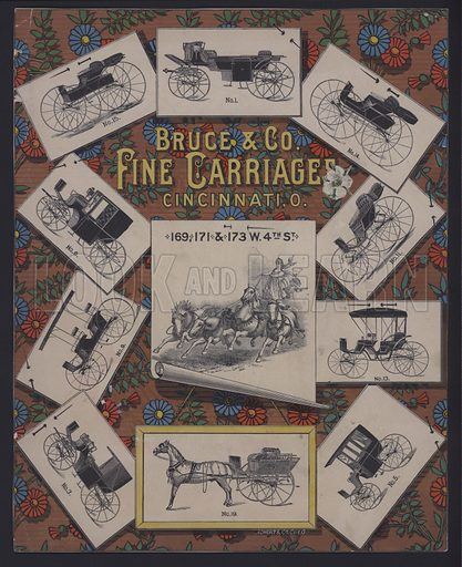 Advertisement for Bruce & Co horse-drawn carriages, Cincinnati, Ohio, USA.