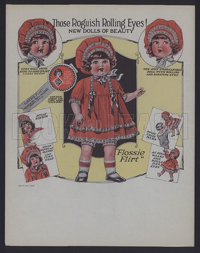 Advertisement for Flossie Flirt, doll with rolling eyes, 1925.
