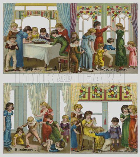 Children's games: Snap dragon, Oranges and Lemons, Blindman's Buff, Forfeits. Victorian scraps.