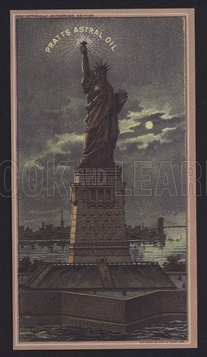 Statue of Liberty at Night, Pratts Astral Oil. Trade card.