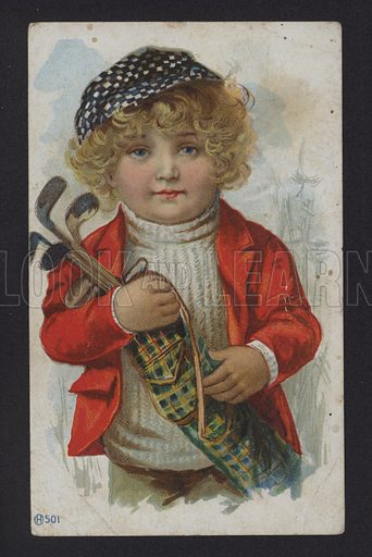 Boy with golf clubs. Note: Image requires slight retouching.