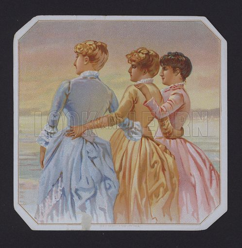 Women embracing, cigar label
