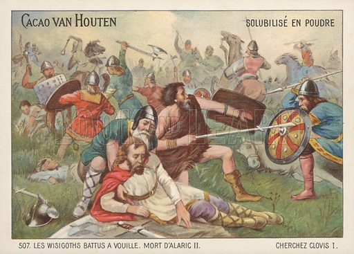 Defeat of the Visigoths and death of Alaric II at the Battle of Vouille, 507.