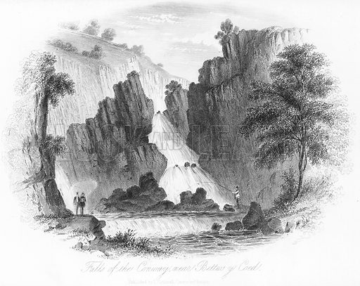 Falls of the Conway, near Bettws y Coed. Illustration for Views in North Wales (T Catherall, c 1850).