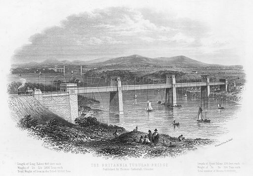 The Britannia Tubular Bridge. Illustration for Views in North Wales (T Catherall, c 1850).