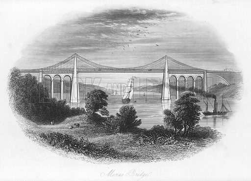 Menai Bridge. Illustration for Views in North Wales (T Catherall, c 1850).