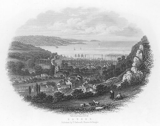 Bangor. Illustration for Views in North Wales (T Catherall, c 1850).